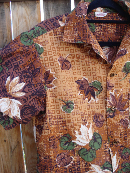 vintage 1960s mens hawaiian shirt