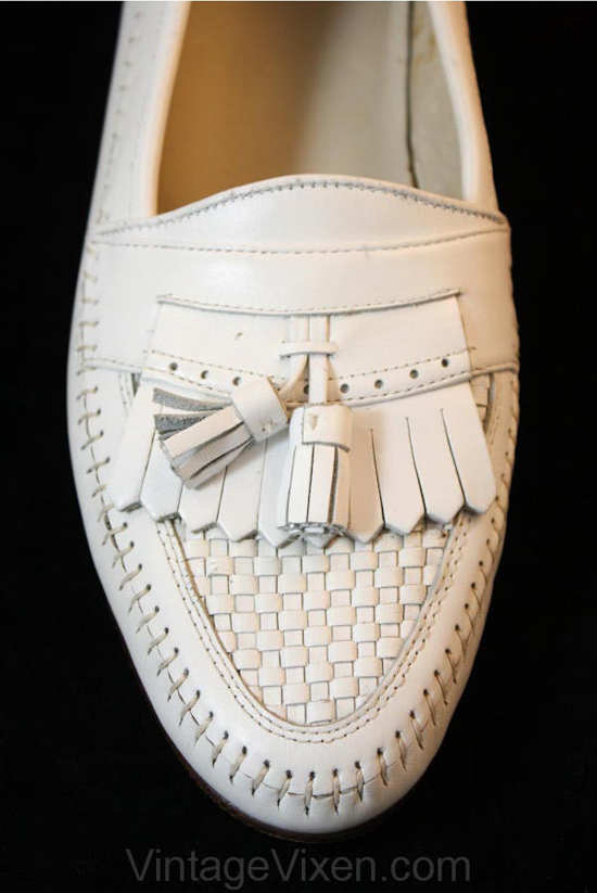 Miami Style 1950s White Leather Gentlemen's Loafers