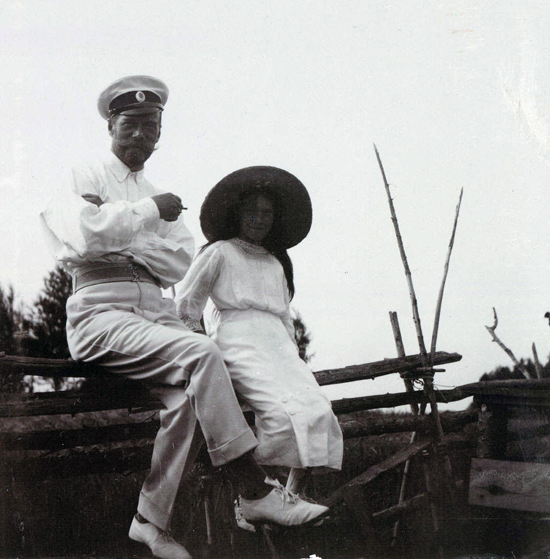 Tsar Nicholas II of Russia and his daughter Grand Duchess Anastasia Nikolaevna at Finnish archipelago, Imperial tennis park Virolahti