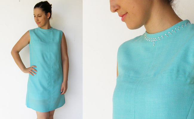 Vintage 1960s Turquoise Shift Dress