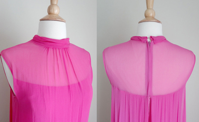 1960s Hot Pink Chiffon Maxi Formal Prom Dress
