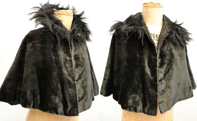 Antique Victorian Black Velvet Mourning Cape with Fur Trim