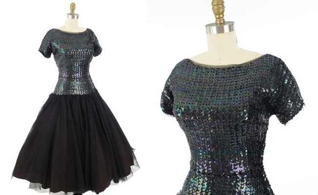 50's Larry Aldrich Black Sequin Tulle Full Skirt Evening Dress
