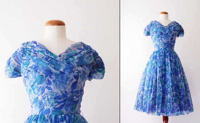 1950s Blue Floral Short Sleeve Chiffon Vintage Party Dress