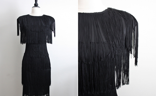 Vintage Black Fringe Flapper Dress
