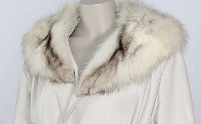 1970s Vintage Coat - White Leather with Rabbit Fur Collar