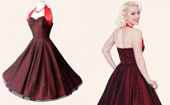 Vivien of Holloway Halterneck Circle Dress Luxury Red Satin Fan Lace