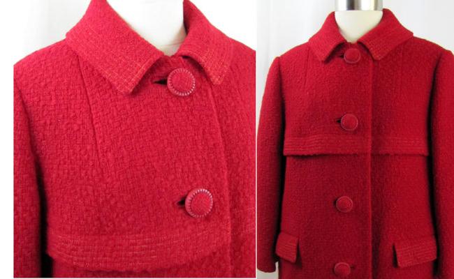 1960s Crimson Red Hockanum Overcoat