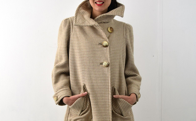 1950s Coat with Large Buttons and Gorgeous Check Pattern