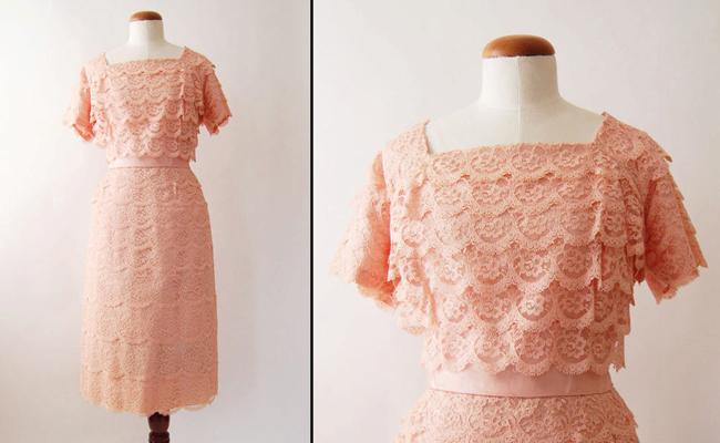 1960s Pink Lace Short Sleeve Vintage Wiggle Dress