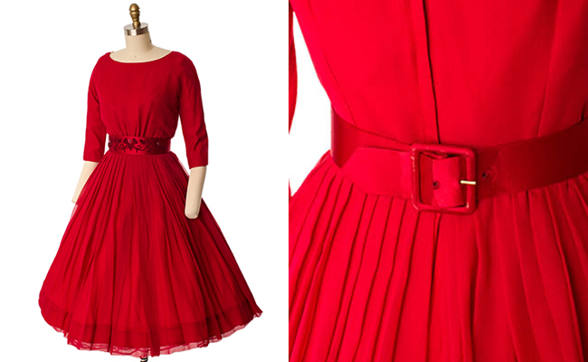 60's Red Silk Chiffon Full Skirt Party Dress