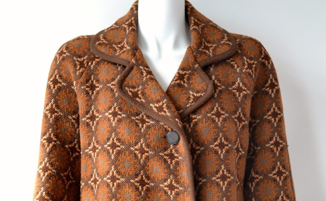 60s pure wool Welsh Tapestry coat in brown and tan