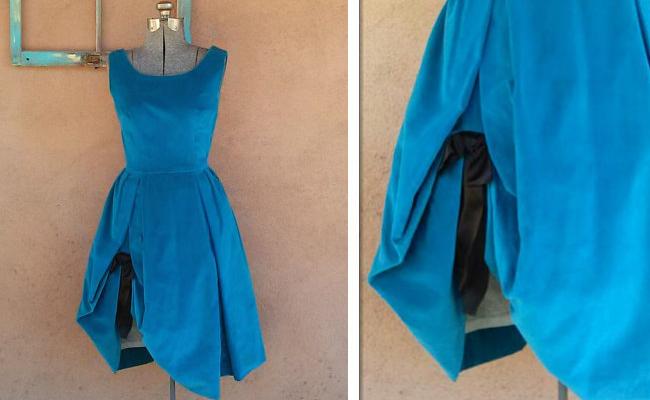 Vintage 1950s Blue Velvet Party Dress Bubble Crinoline