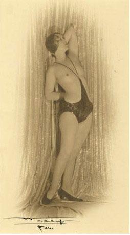 """Folies Bergere Performer - Guna Mori in """"monokini"""" c. 1920"""