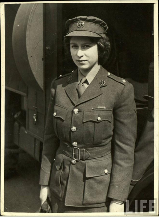 Princess Elizabeth in uniform during WW2