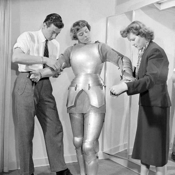Ingrid Bergman's Costume Fitting for Joan Of Arc