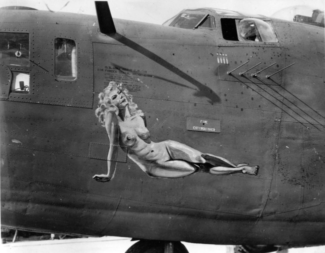Naked lady on ww2 nose cone