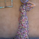 Vintage 1930s Dress Floral Silk Chiffon Bias Cut