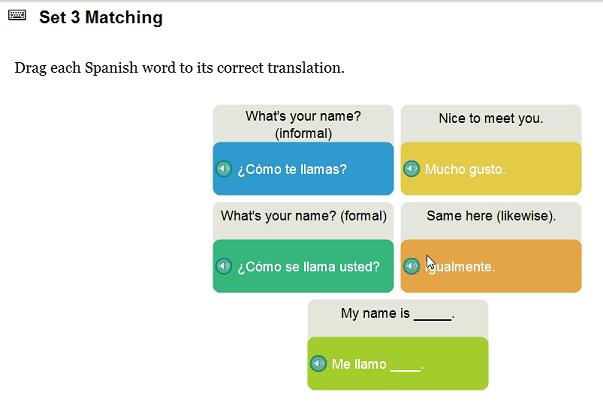 Spanish matching