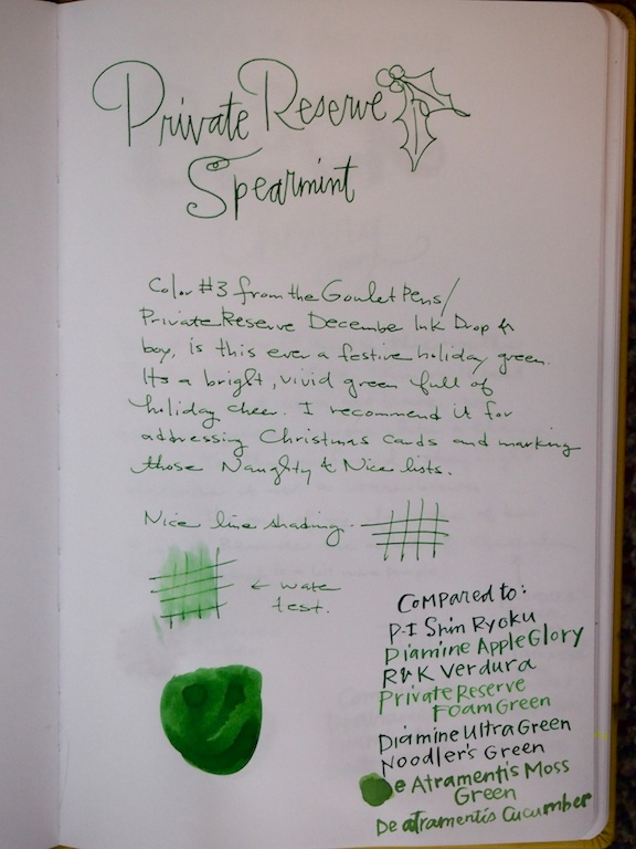 Private Reserve Spearmint writing sample