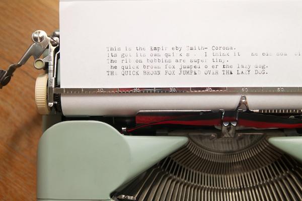 Smith-Corona Empire typing sample