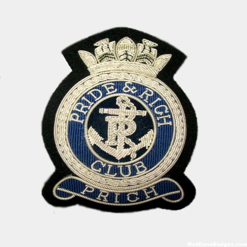 pride and rich club silver bullion wire blazer badge