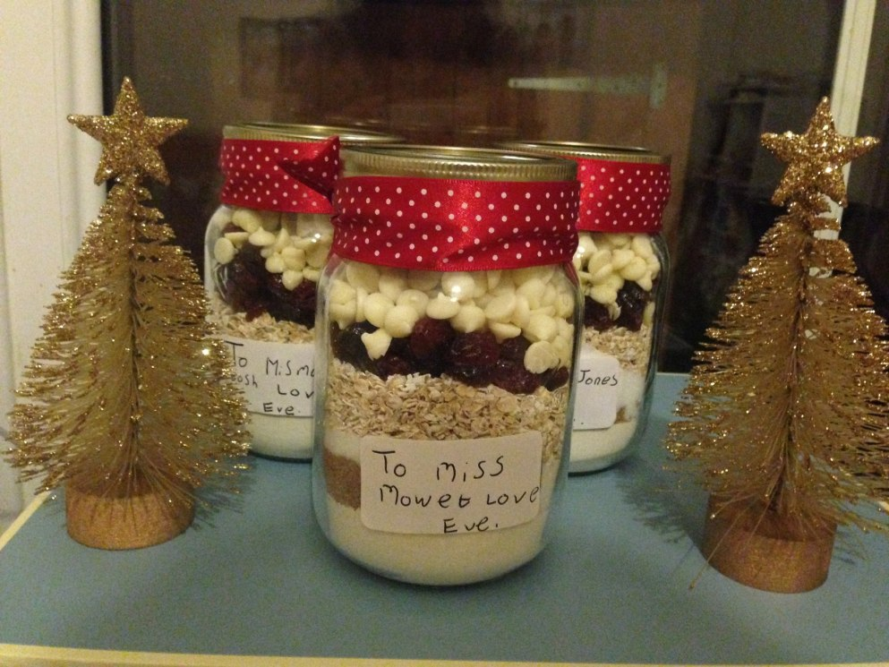 White Chocolate & Cranberry Cookies in a Jar