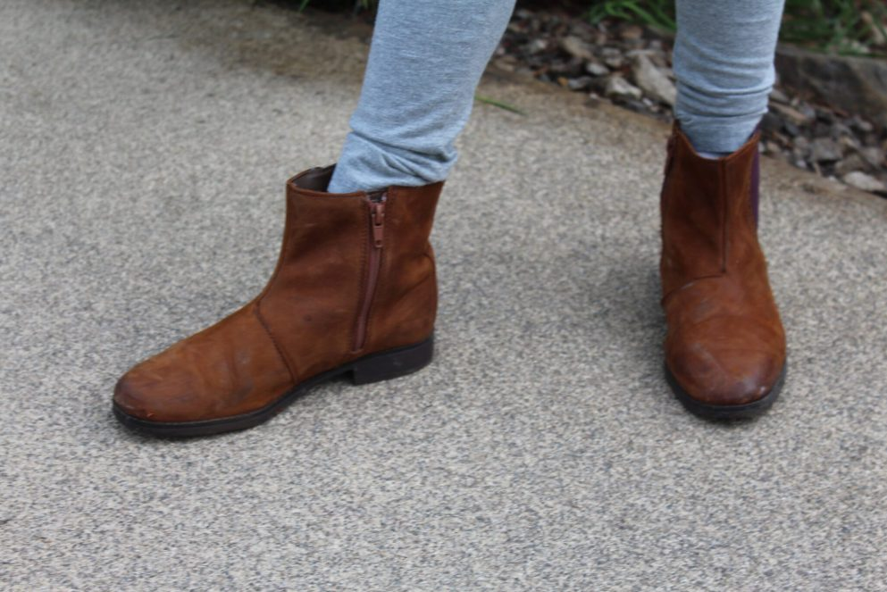 girls brown leather clarks boots