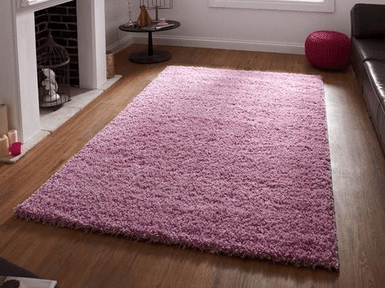 pink shaggy rug