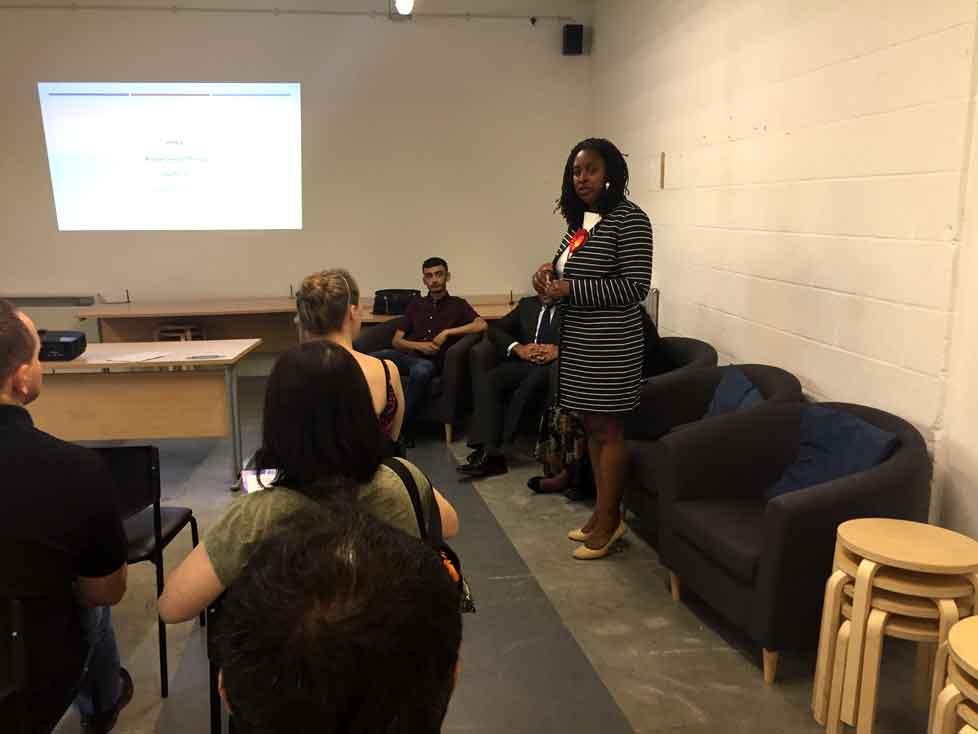 Dawn Butler addressing the AGM