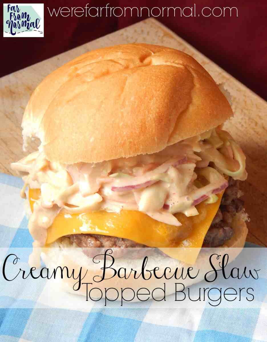 Creamy Barbecue Slaw Topped Burgers