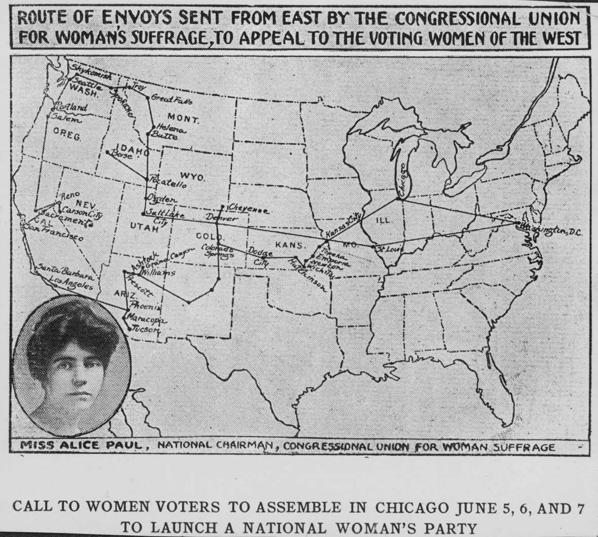Route of Envoys Sent from East by the Congressional Union for Woman's Suffrage, to Appeal the Voting Women of the West