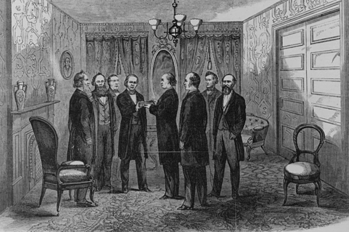 Andrew Johnson taking the oath of office