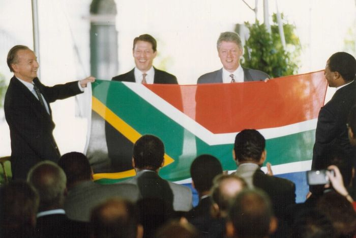 Post-apartheid South African flag being unveiled