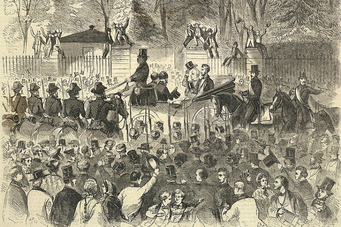 Inaugural procession, shows President-elect Lincoln and President Buchanan