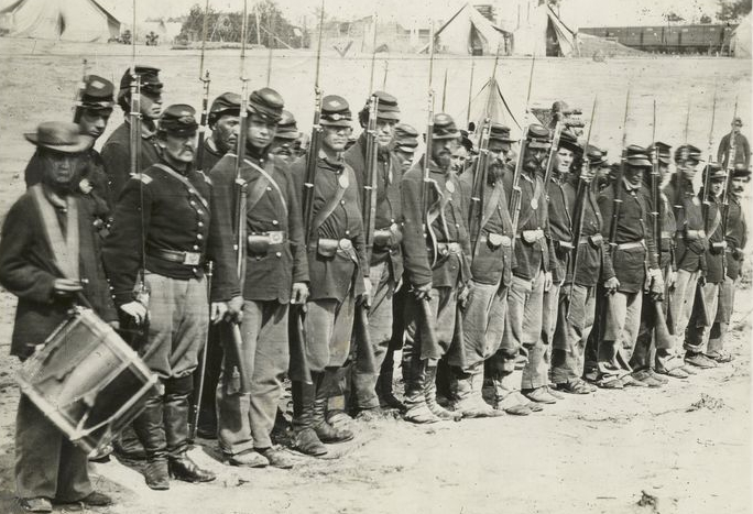 Sixth Maine Infantry on parade after the Battle of Fredericksburg