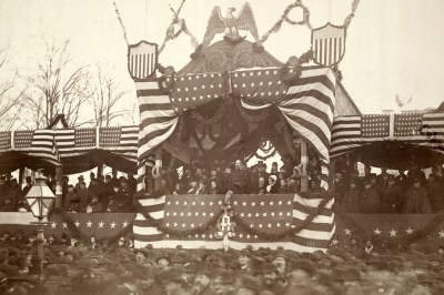 President Garfield in reviewing stand, viewing inauguration ceremonies, March 4, 1881