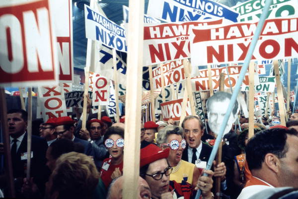 Supporters of Richard Nixon at the 1968 Republican National Convention. (State Library and Archives of Florida, via Wikimedia Commons)