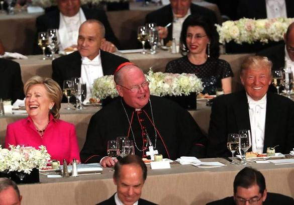 Party Nominees Hillary Clinton and Donald Trump at Traditional Al Smith Dinner (Photo courtesy of NPR)