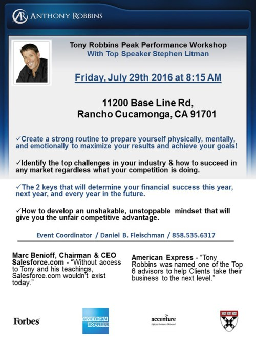 Tony Robbins Workshop Flyer