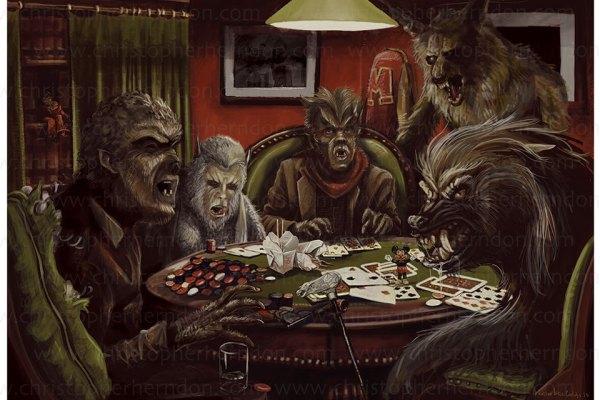 "Christopher Herndon's ""Werewolves Playing Poker"""
