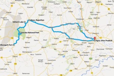 sariska bhangarh alwar agra route map