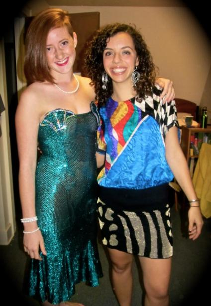Aletta Brady '15 and Rebecca Sokol '15, rocking second-hand threads