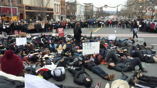 "Wesleyan Students at a ""Die In"" on the corner of Wash and Main. Photo by James Gibbel '18"
