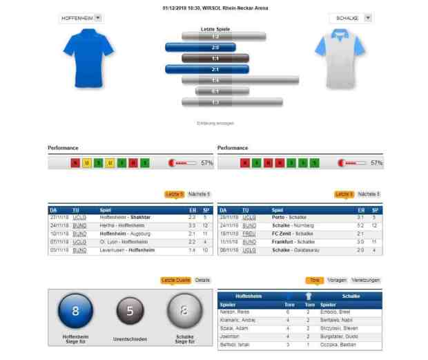 Hoffenheim - Schalke 01.12.2018 Tipp Statistik