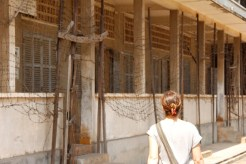 Outside of Tuol Sleng Genocide Museum