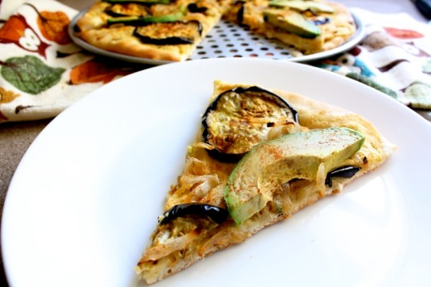 avocado, pizza, vegan, vegetarian, caramelized onions, eggplant