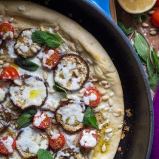 Middle Eastern Flatbread with Eggplant, Tahini Sauce and Za'atar
