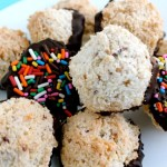Dark Chocolate Macaroons with Rainbow Sprinkles
