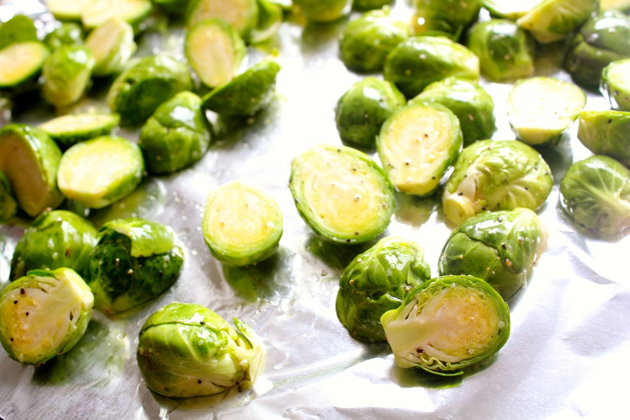 roasted Brussels sprouts with gribenes